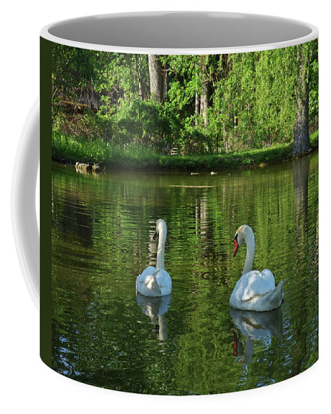 Swans Coffee Mug featuring the photograph Wagner Vinyard Estate Swans Finger Lakes Lodi Ny by Toby McGuire