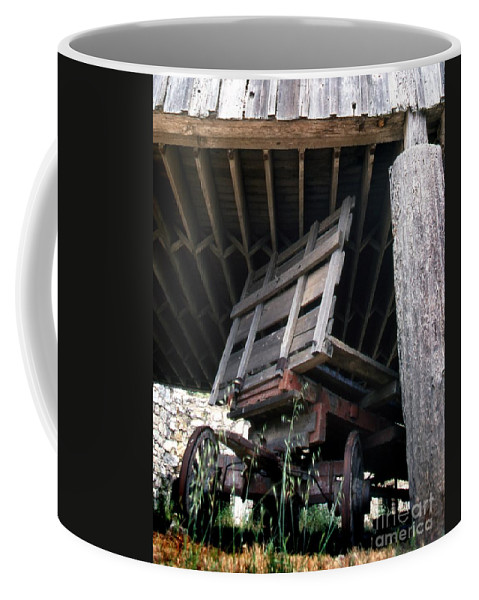 Western Scenes Coffee Mug featuring the photograph Wagon Barn 2 by Norman Andrus