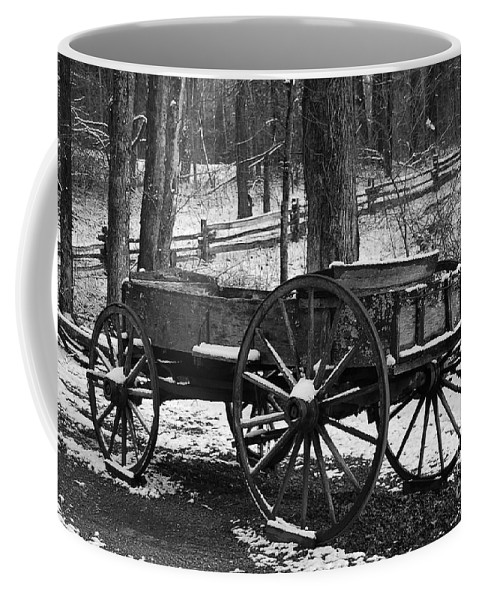Black & White Coffee Mug featuring the photograph Wagon by Eric Liller