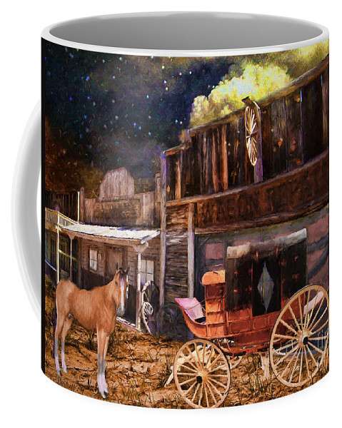 Wagon Repair Coffee Mug featuring the painting Wagon Repair by L Wright