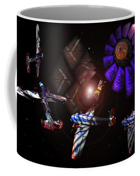 Vortex Coffee Mug featuring the digital art Wagon Train To The Stars by Charles Stuart