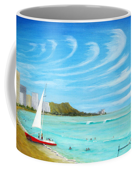Waikiki Coffee Mug featuring the painting Waikiki by Jerome Stumphauzer