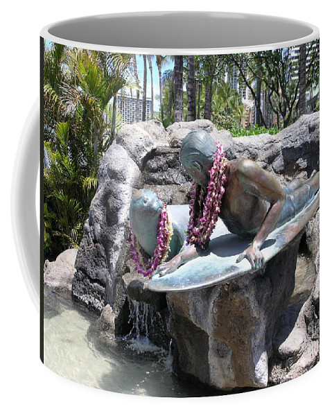 Statue Coffee Mug featuring the photograph Waikiki Statue - Surfer Boy And Seal by Mary Deal