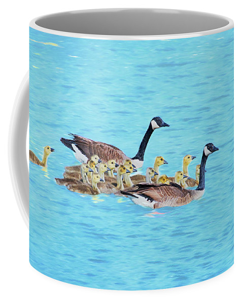 Canadian Geese Coffee Mug featuring the photograph Wait For Me by Susan Rissi Tregoning