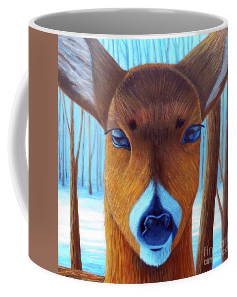 Deer Coffee Mug featuring the painting Wait For The Magic by Brian Commerford