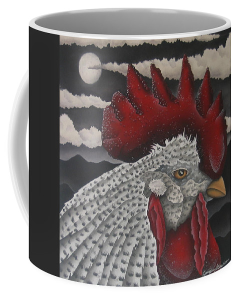 Rooster Coffee Mug featuring the painting Waiting For Daybreak by Jeniffer Stapher-Thomas