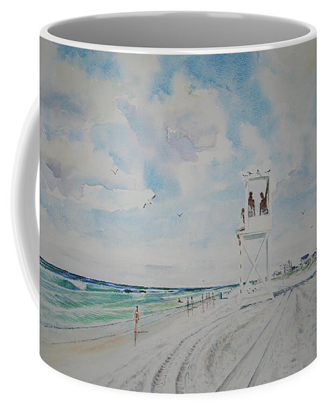 Ocean Coffee Mug featuring the painting Waiting For The Lifeguard by Tom Harris