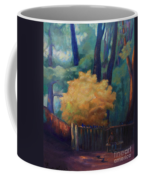 Trees Coffee Mug featuring the painting Waiting For The Sun by Maris Salmins