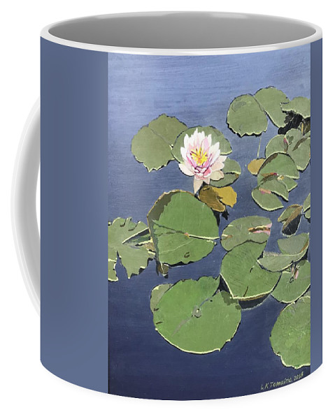 Recycled Coffee Mug featuring the painting Waiting Lotus by Leah Tomaino