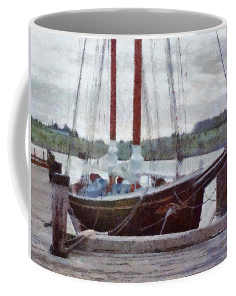 Canadian Coffee Mug featuring the painting Waiting To Sail by Jeffrey Kolker