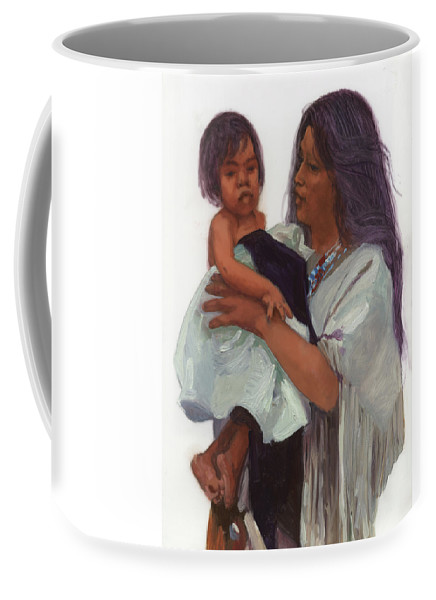 Miniatures Coffee Mug featuring the painting Wakin Up Sacajawea And Pomp by Betty Jean Billups