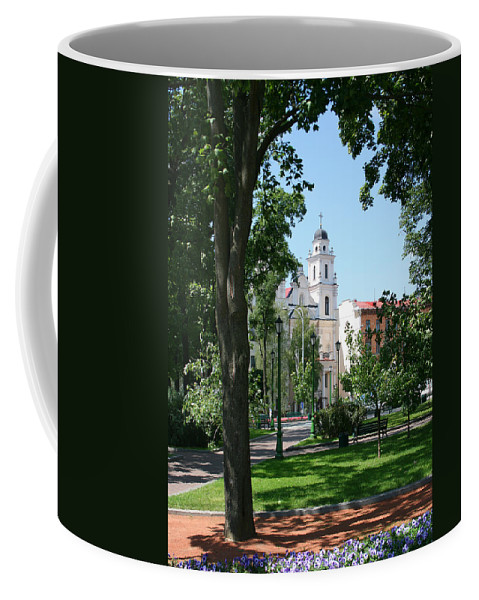 Park City Tree Trees Flowers Church Building Summer Blue Sky Green Walk Bench Coffee Mug featuring the photograph Walk In The Park by Andrei Shliakhau