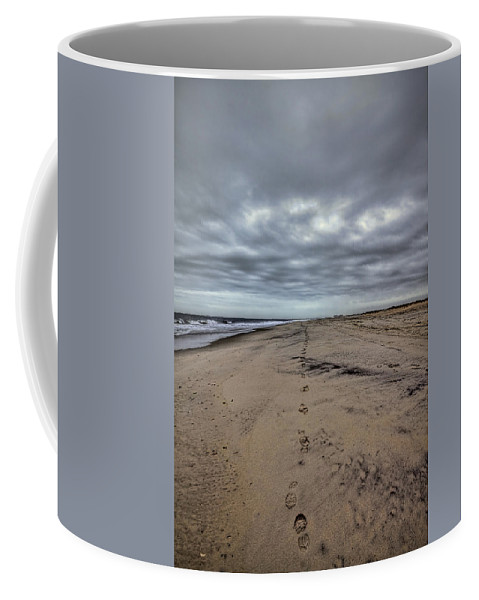 Beach Coffee Mug featuring the photograph Walk The Line by Evelina Kremsdorf