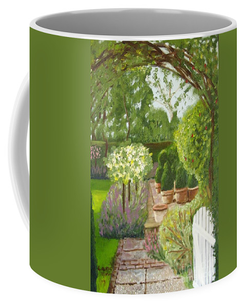 Garden Coffee Mug featuring the painting Walk With Me by Laurie Morgan