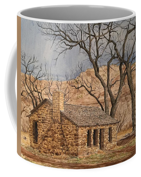 Cabin Coffee Mug featuring the painting Walker Homestead In Escalante Canyon by Rick Adleman