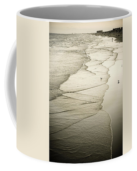Ocean Coffee Mug featuring the photograph Walking Along The Beach At Sunrise by Marilyn Hunt