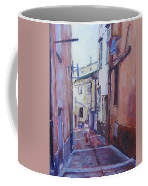 Menton Coffee Mug featuring the painting Walking Around Menton France by Diane Quee