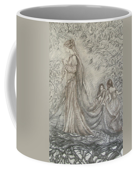 Woman Coffee Mug featuring the drawing Walking In The Magic Garden by Rita Fetisov
