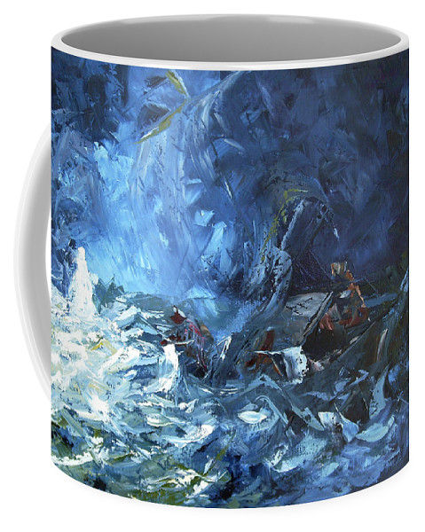 Abstract Coffee Mug featuring the painting Walking On Water by Lewis Bowman