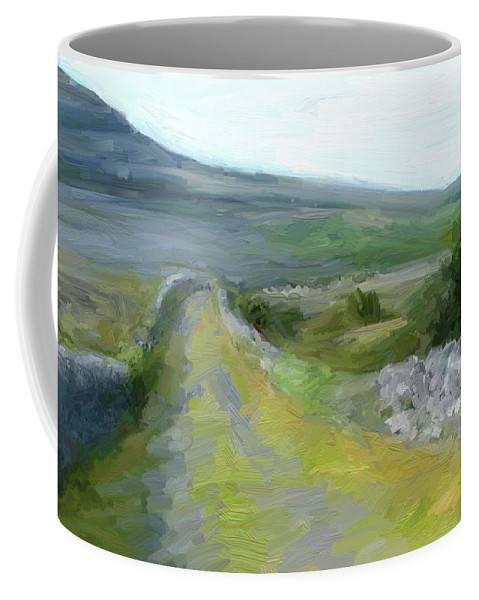 County Clare Coffee Mug featuring the digital art Walking the Burren by Scott Waters