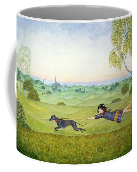 Child Coffee Mug featuring the painting Walking the Dog by Ditz