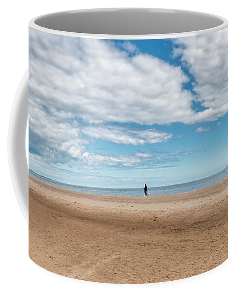 Sea Coffee Mug featuring the photograph Walking The Dog On The Beach by Jeremy Lavender Photography