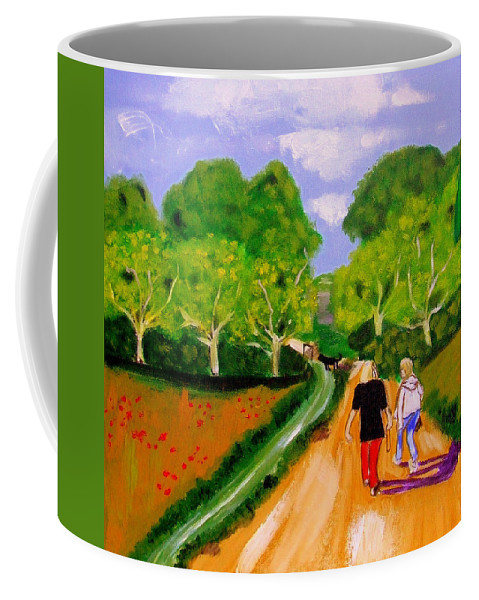 Landscape Coffee Mug featuring the painting Walking The Dog by Rusty Gladdish