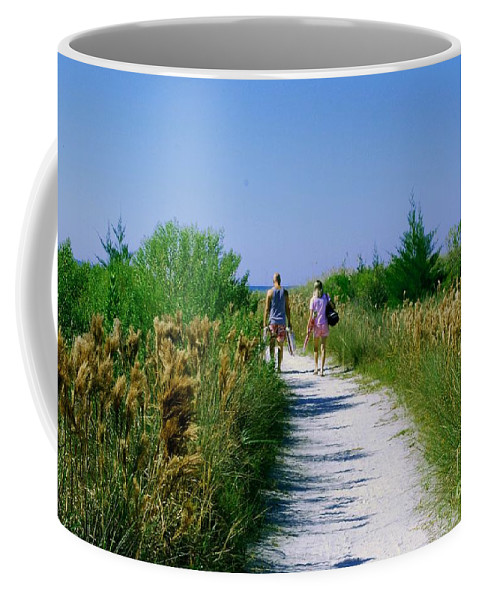 Walking Coffee Mug featuring the photograph Walking To The Beach by Gary Wonning