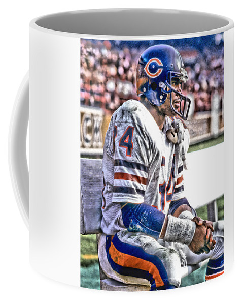 Walter Payton Coffee Mug featuring the mixed media Walter Payton Chicago Bears Art 2 by Joe Hamilton