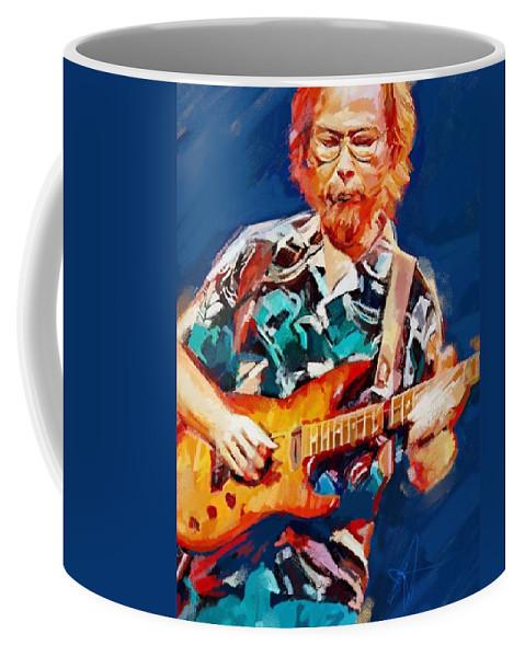 Walter Becker Music Portrait Musician Rock Steeley Dan Coffee Mug featuring the digital art Uncle Walter by Scott Waters