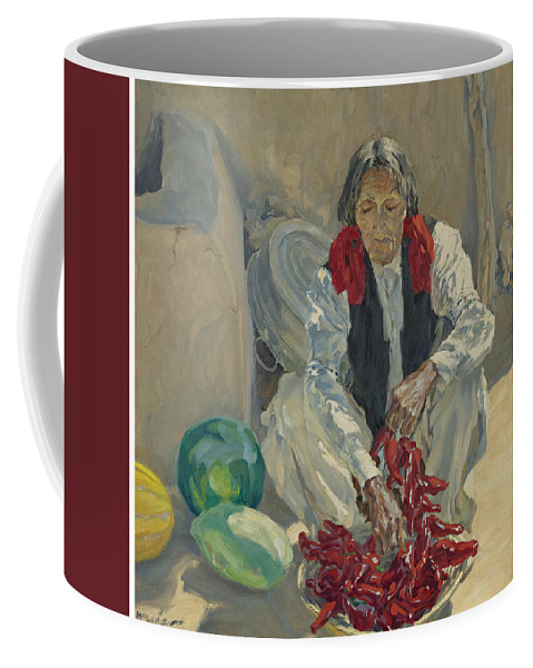 Girl Coffee Mug featuring the painting Walter Ufer 1876-1936 Stringing Chili Peppers by Walter Ufer