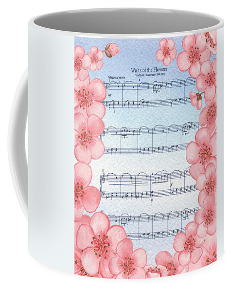 Waltz Coffee Mug featuring the painting Waltz Of The Flowers Dancing Pink by Irina Sztukowski