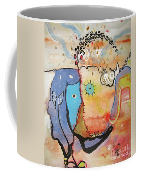 Abstract Paintings Coffee Mug featuring the painting Wandering In Thought by Seon-Jeong Kim