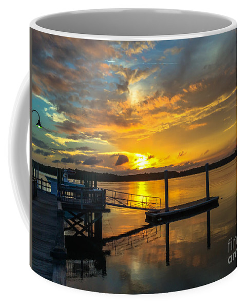 Wando River Coffee Mug featuring the photograph Wando River August Sunset by Dale Powell