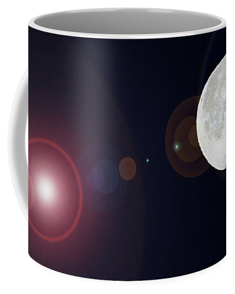 Moon Coffee Mug featuring the digital art Waning Gibbous by DigiArt Diaries by Vicky B Fuller