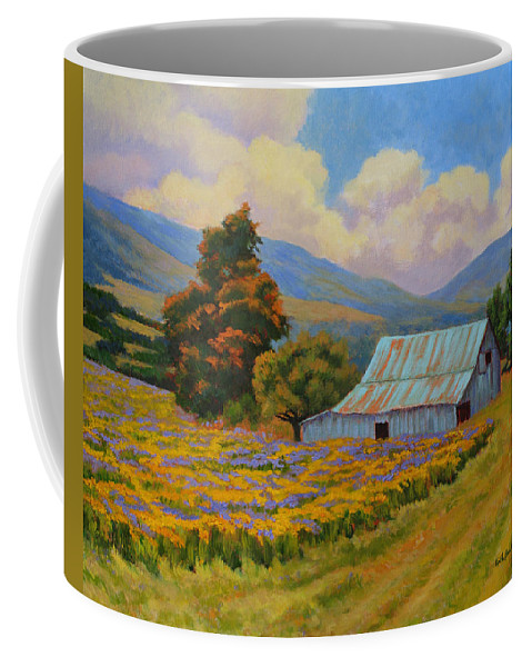 Landscape Coffee Mug featuring the painting Waning Summer by Keith Burgess