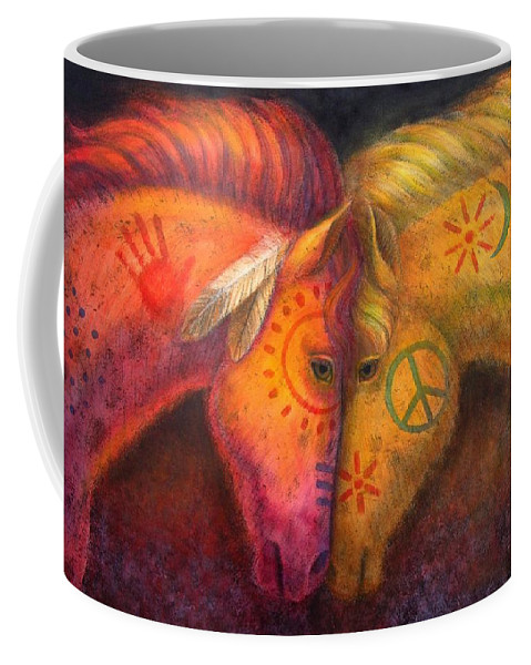 Horse Coffee Mug featuring the painting War Horse And Peace Horse by Sue Halstenberg