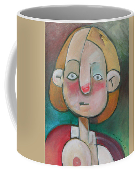 Woman Coffee Mug featuring the painting Wardrobe Malfunction by Tim Nyberg