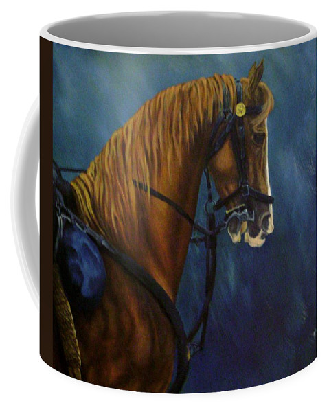 Civil War Coffee Mug featuring the painting Warhorse-us Cavalry by Joann Renner