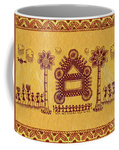 Warli Paintings Coffee Mug featuring the painting Warli Ceremony by Subhash Limaye
