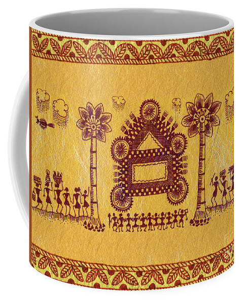 Warli Paintings Coffee Mug featuring the painting Warli Ceremony by Subhash Limaye