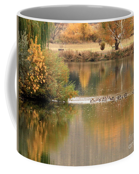Prosser Coffee Mug featuring the photograph Warm Autumn River by Carol Groenen