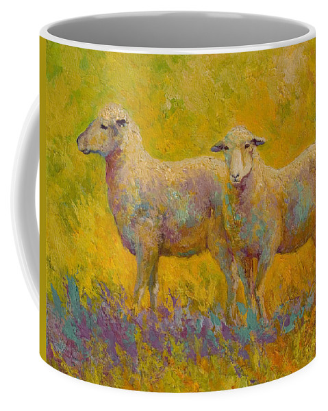 Llama Coffee Mug featuring the painting Warm Glow - Sheep Pair by Marion Rose
