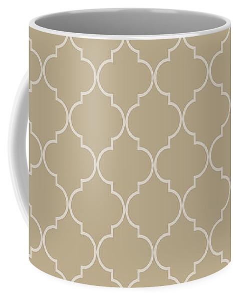 Quatrefoil Coffee Mug featuring the digital art Warm Sand Quatrefoil by Ashley Wann