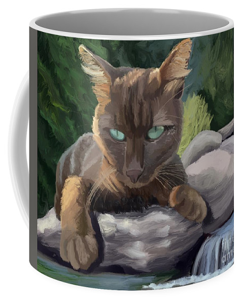 Cat Coffee Mug featuring the digital art Warm Sun Cool Water by Maxwell Dusky