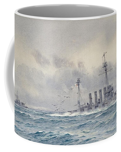 Alma Claude Burlton Cull (1880-1931) The Sinking Of H.m.s. Warrior After The Battle Of Jutland Coffee Mug featuring the painting Warrior After The Battle Of Jutland by MotionAge Designs
