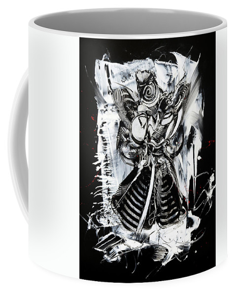 Urban Art Street Art Black And White Abstract Coffee Mug featuring the painting Warrior by Susan Card