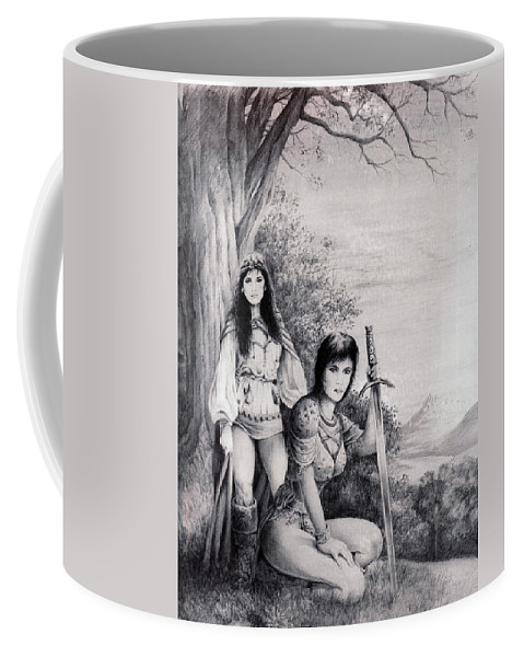 Floral Coffee Mug featuring the drawing Warriors by Rachel Christine Nowicki