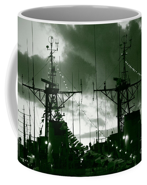 Antenna Coffee Mug featuring the photograph Warships At Twilight by Gaspar Avila