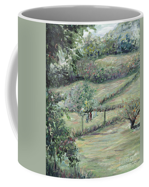 Landscape Coffee Mug featuring the painting Washday in Provence by Nadine Rippelmeyer